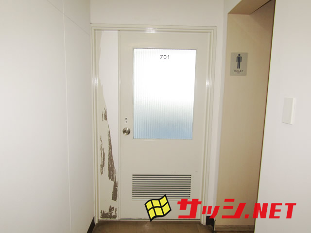 事務所木製ドアからアルミドアへ取替 施工事例 名古屋市中区